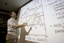 Physicist Petar Maksimovic presenting at Fermilab